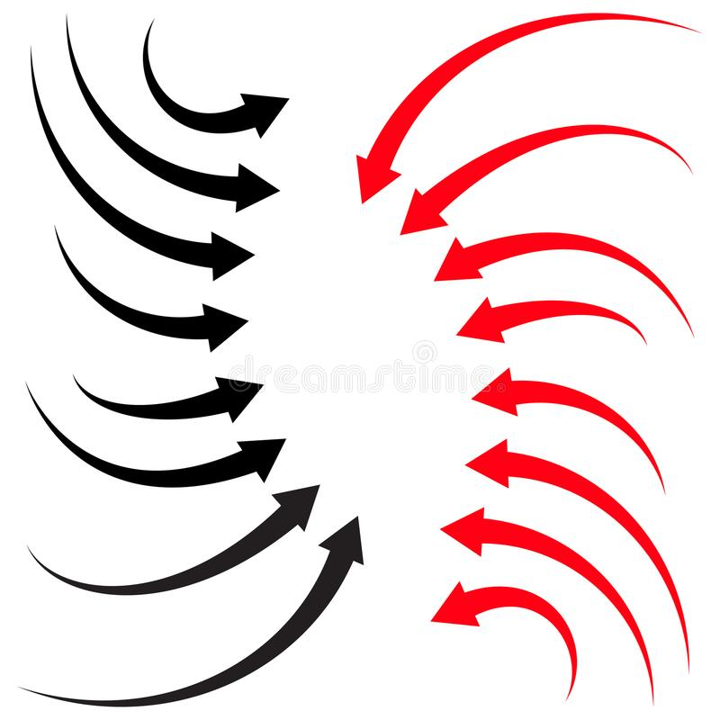 Set of arrows red and black vector illustration