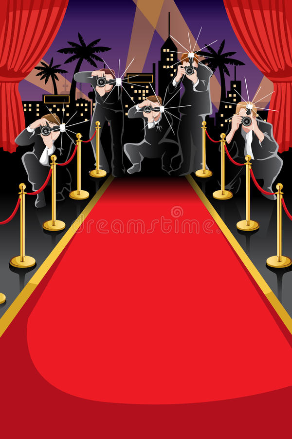 red carpet and paparazzi background stock vector
