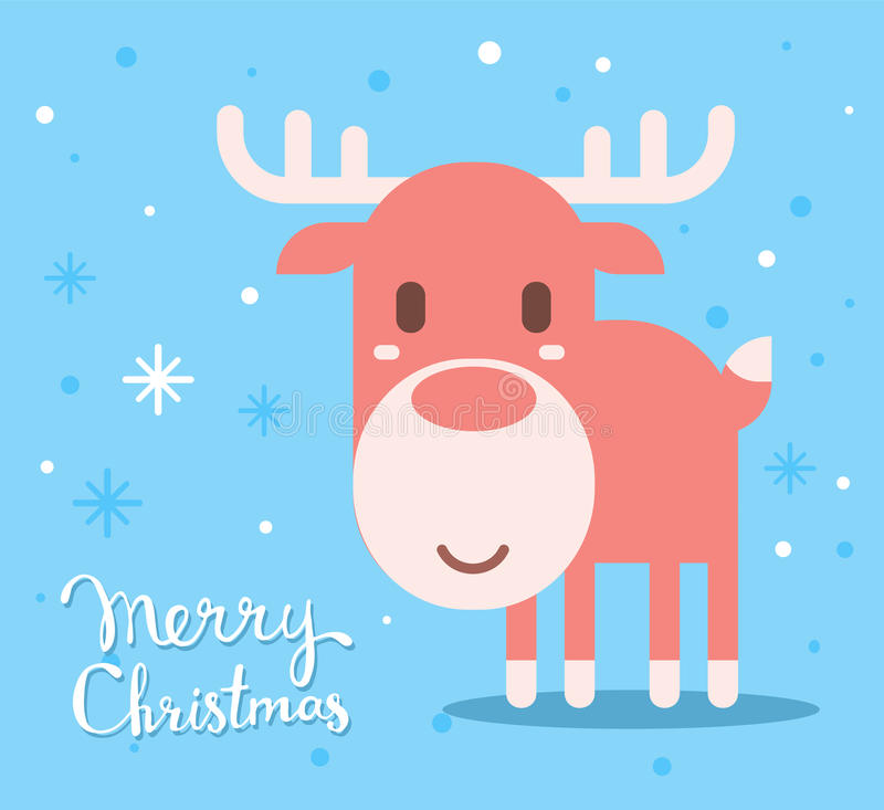 Vector illustration of red christmas reindeer with handwritten t stock illustration