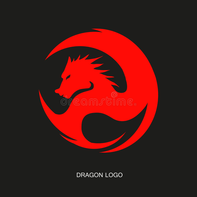 Red dragon logo royalty free stock photo