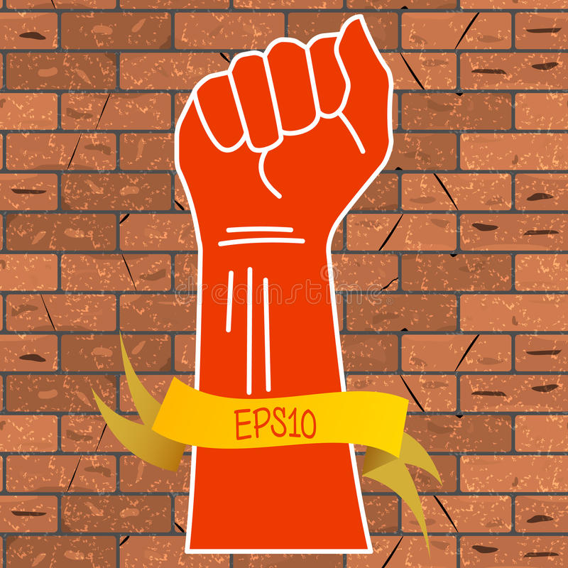 Vector illustration of a red hand clenched into a fist and a yellow ribbon with an inscription EPS10 on a brown brick wall back vector illustration