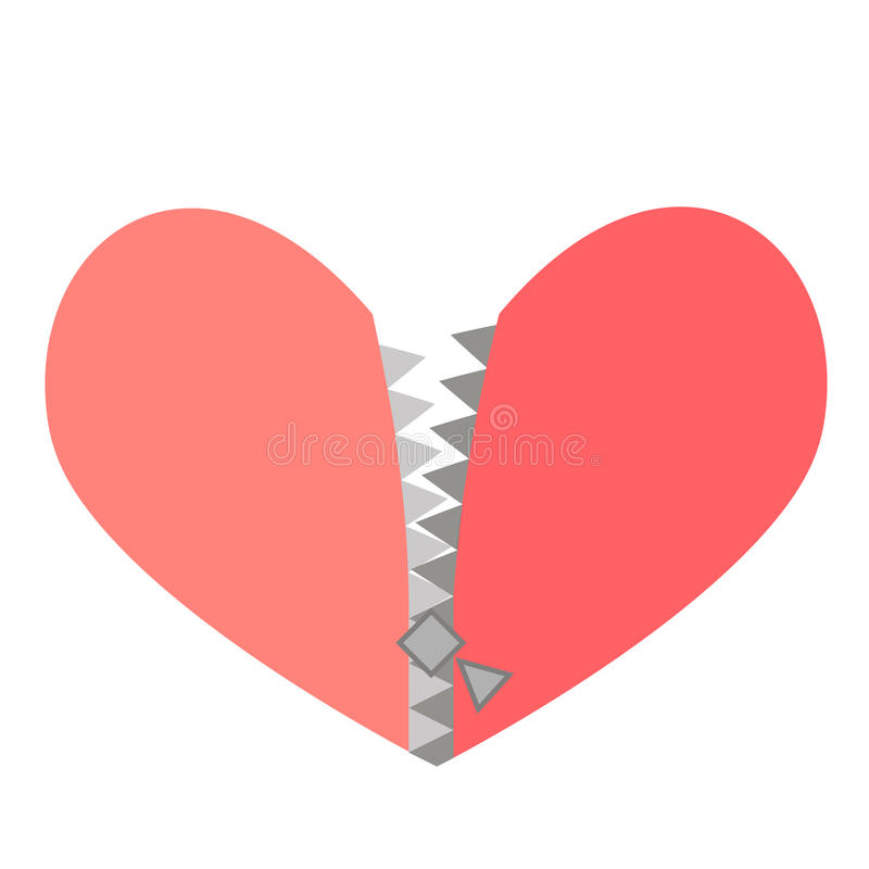 Vector illustration of a red heart with zipper. Vector illustration red heart with zipper vector illustration