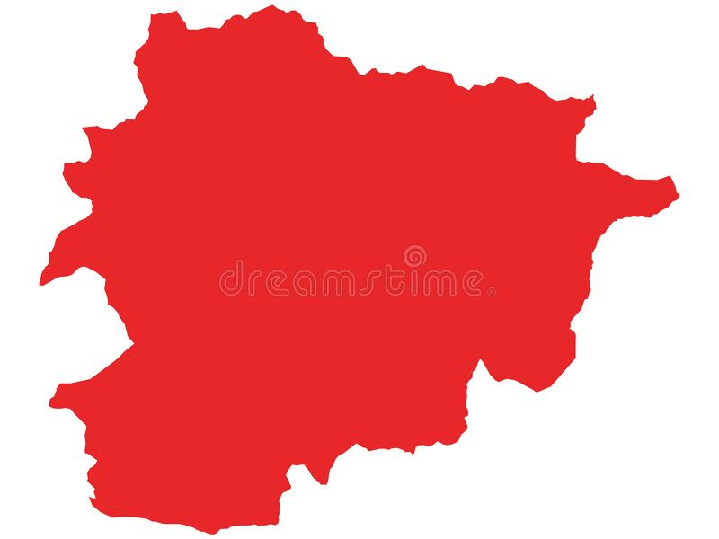 Red Map of European Country of Andorra. Vector Illustration of the Red Map of European Country of Andorra vector illustration