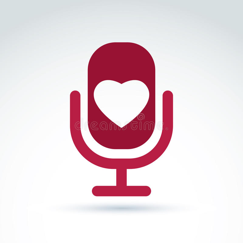 Vector illustration of red microphone with love symbol, broadcast icon. Love song sign. vector illustration