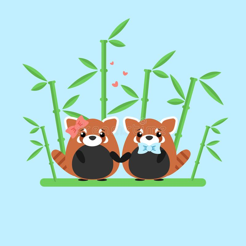 Vector illustration of red panda couple in love with ornate bamboo isolated on blue background. royalty free illustration