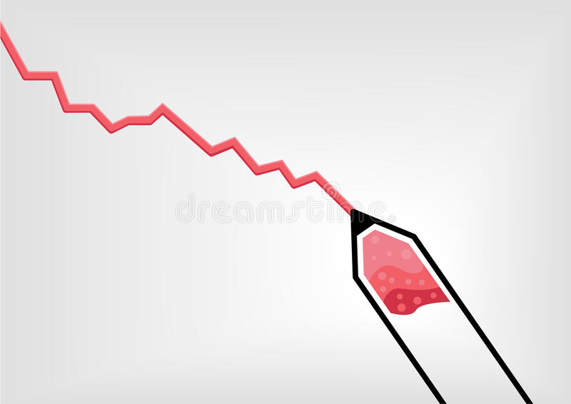 Vector illustration of red pen or pencil drawing a declining negative growth curve royalty free illustration