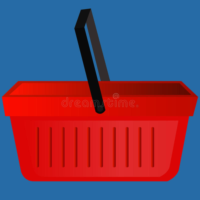 Vector illustration of a red plastic empty shopping basket. Picture, drawing profile. Icon, sign shopping bag, box. stock image