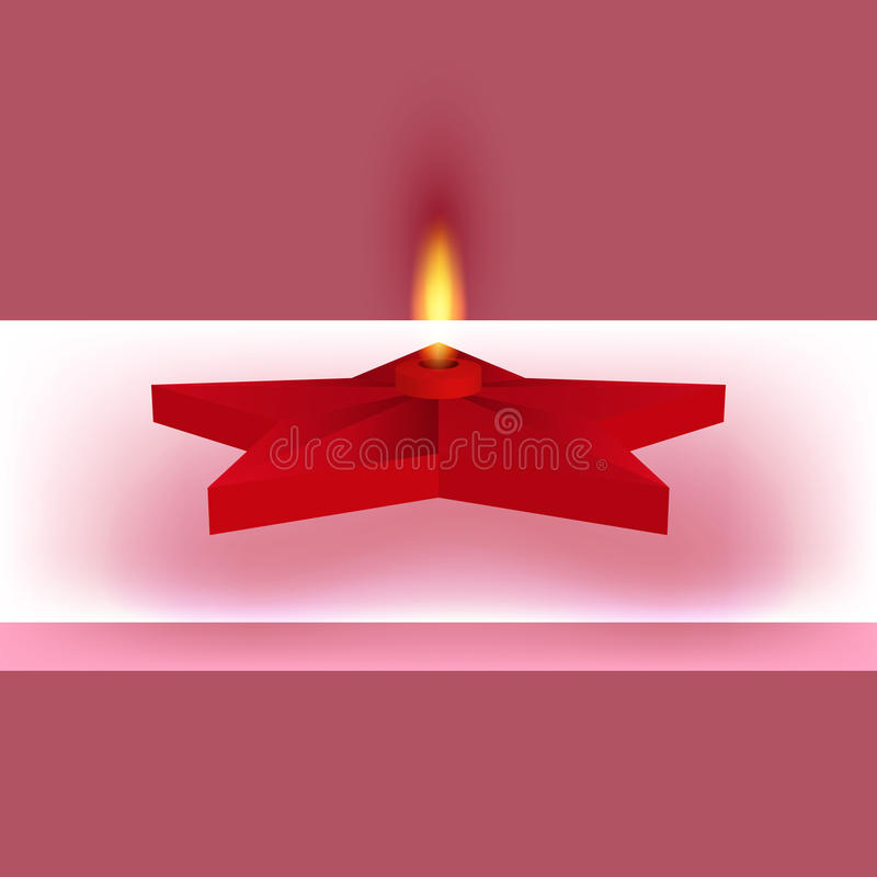 Vector illustration of a red star with fire. Eternal flame royalty free illustration