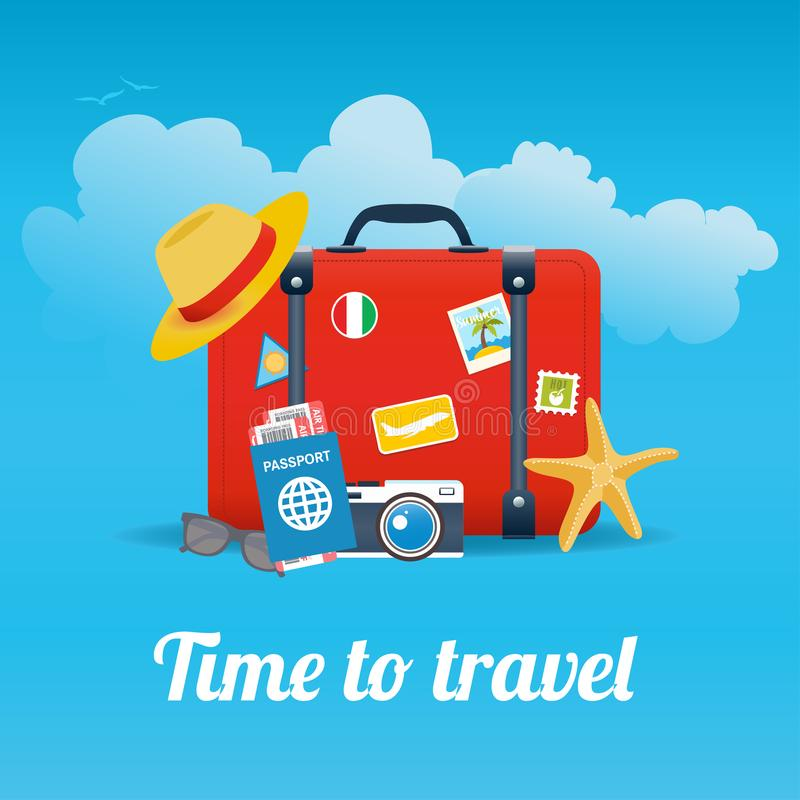 Vector illustration of red vintage suitcase with stickers and different travel elements stock illustration