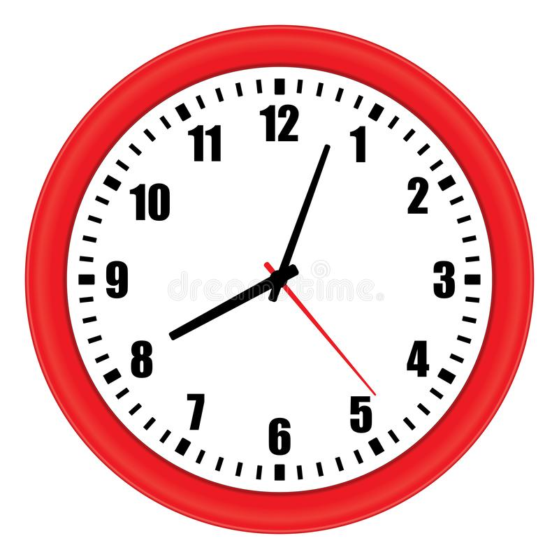 Vector illustration of red wall clock over white stock photos