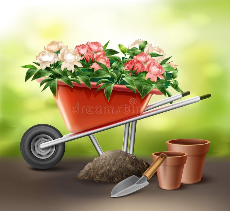 Wheelbarrow with flowers royalty free illustration