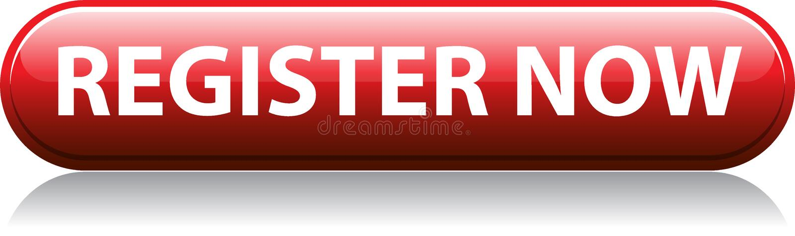 Register now red button vector illustration