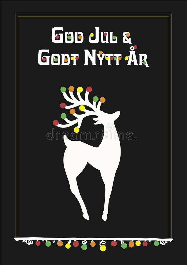 Vector illustration of reindeer and Norwegian Norway text God Jul och Godt Nytt Ã…r, means Merry Christmas and Happy New Year. Reindeer in proud position stock illustration