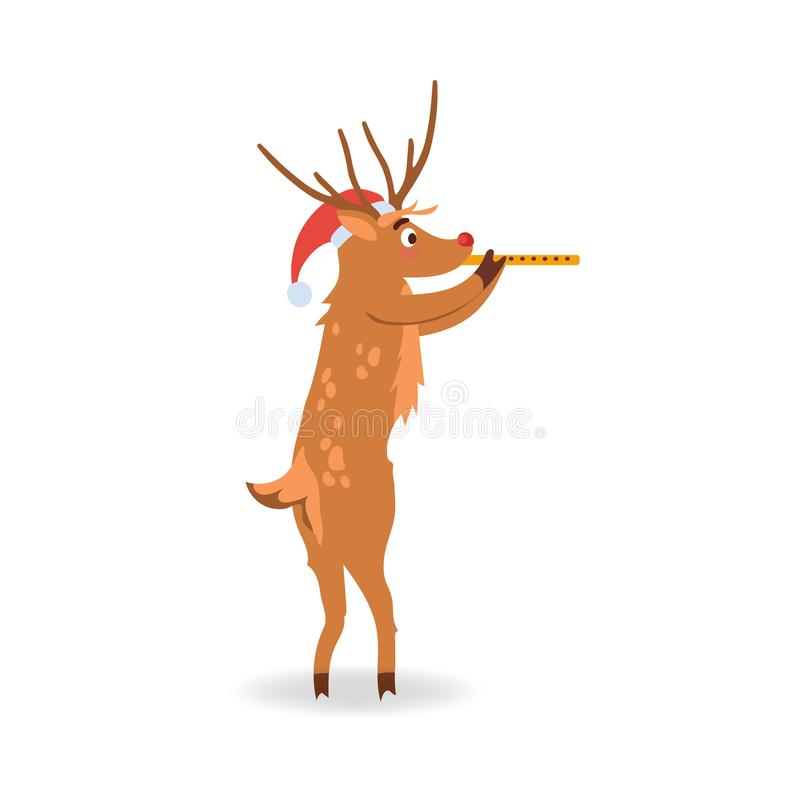 Vector illustration of reindeer with red nose in Santa Claus hat playing musical pipe. stock illustration