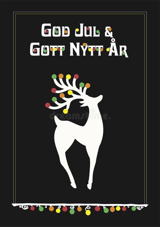 Vector illustration of reindeer and Swedish Sweden text God Jul och Gott Nytt år, means Merry Christmas. Reindeer in proud position with text in Swedish with royalty free illustration