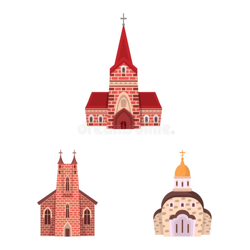 Vector illustration of religion and building icon. Collection of religion and faith stock vector illustration. Isolated object of religion and building symbol stock illustration