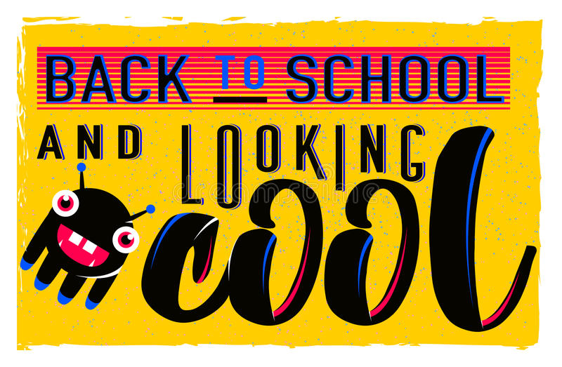 Vector illustration of retro back to school greeting card with typography element on bright background, grunge effect. Vector illustration of retro back to vector illustration