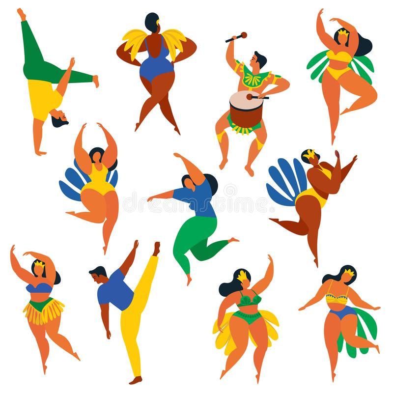 Vector illustration in retro flat style carnival girls, women and men young people. Healthy lifestyle. Set of Brazilian samba danc stock illustration