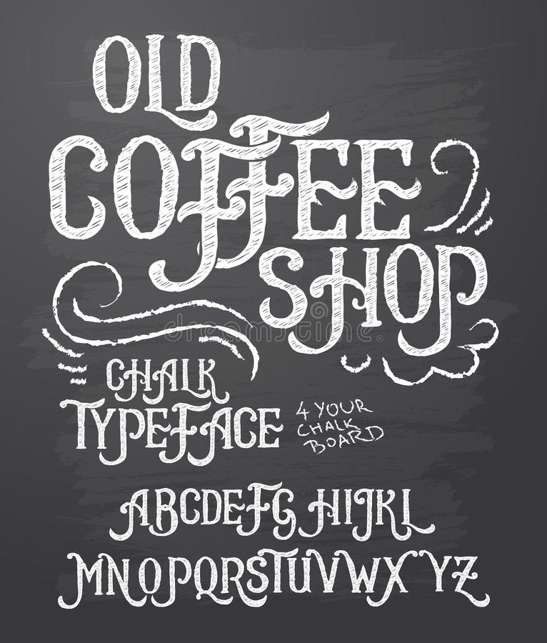 Vector illustration of retro font, capital letters written in white chalk on a blackboard. Template, design element for a signboard, advertising of coffee shop vector illustration