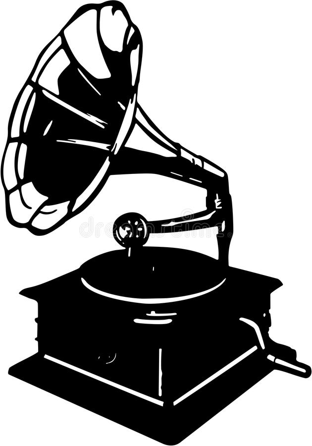 Vector illustration of retro gramophone isolated on white background. Vector illustration of retro gramophone. The image is ready for cutting plotter vector illustration