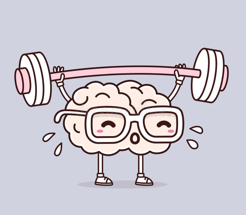 Vector illustration of retro pastel color pink brain with glasses lifting weights on gray background. Exercising cartoon brain co royalty free stock photos