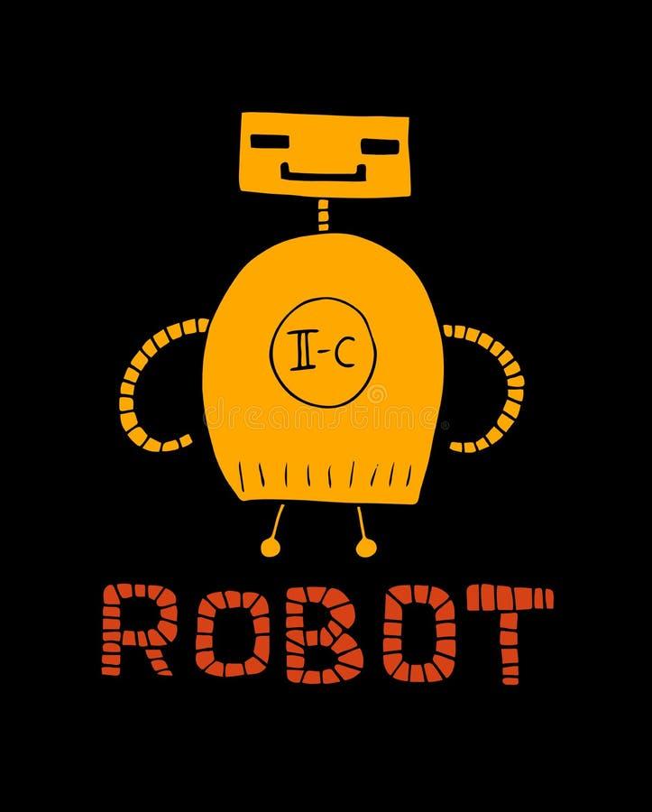 Vector illustration of retro robot in flat style. Children`s bright print royalty free illustration