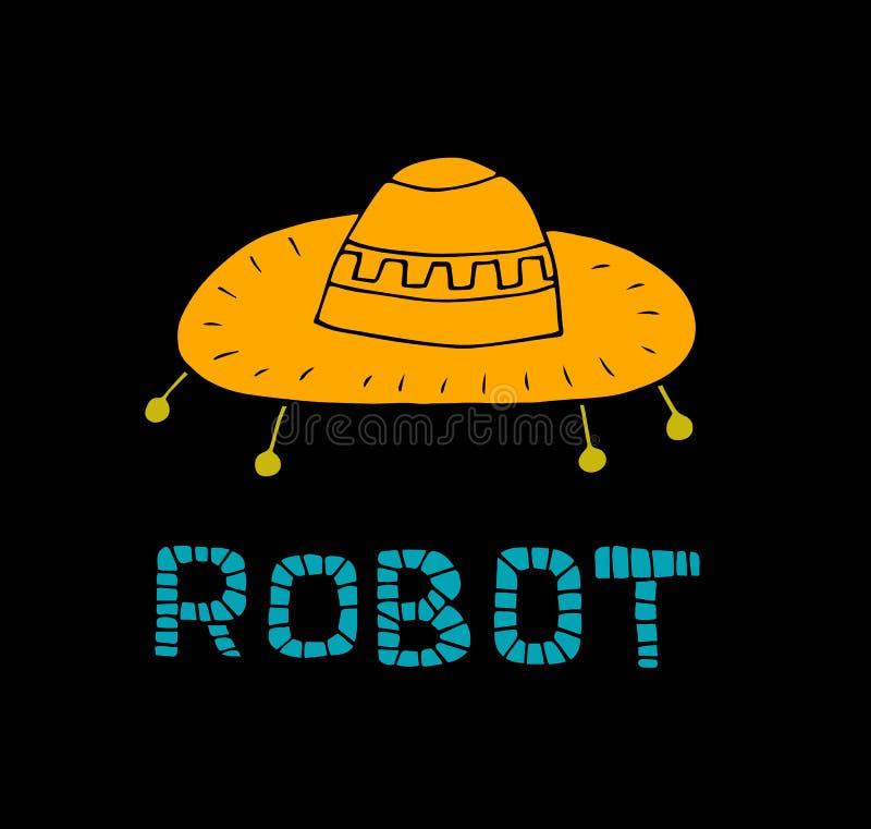 Vector illustration of retro robot in flat style. Children`s bright print vector illustration