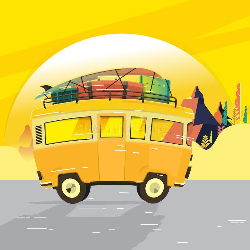 Vector illustration - Retro travel red van. Mountain. Surfer van. Vintage travel car. Old classic camper minivan. Retro hippie bus royalty free illustration