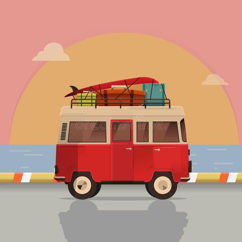 Vector illustration - Retro travel red van. sea. Surfer van. Vintage travel car. Old classic camper minivan. Retro hippie bus. Landscape nature. art vector illustration