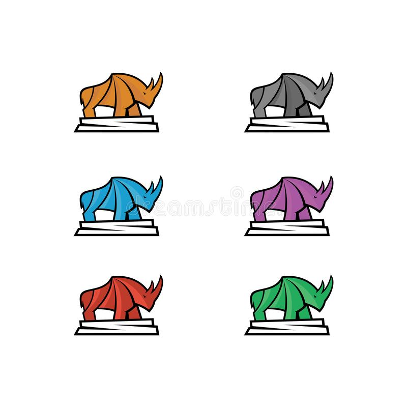 Vector illustration of a rhinoceros with six color choices stock illustration