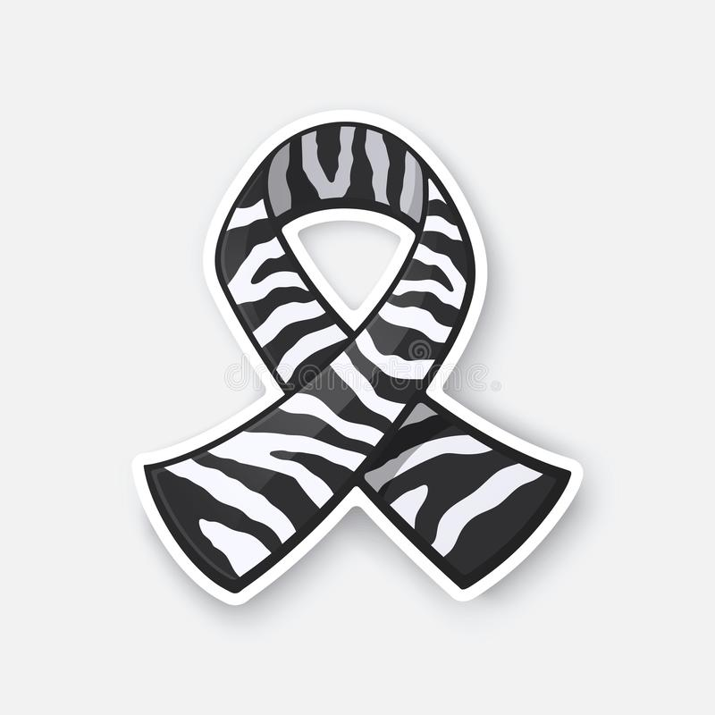 Vector illustration. Ribbon with zebra print, international symbol of Carcinoid cancer and rare-disease awareness vector illustration