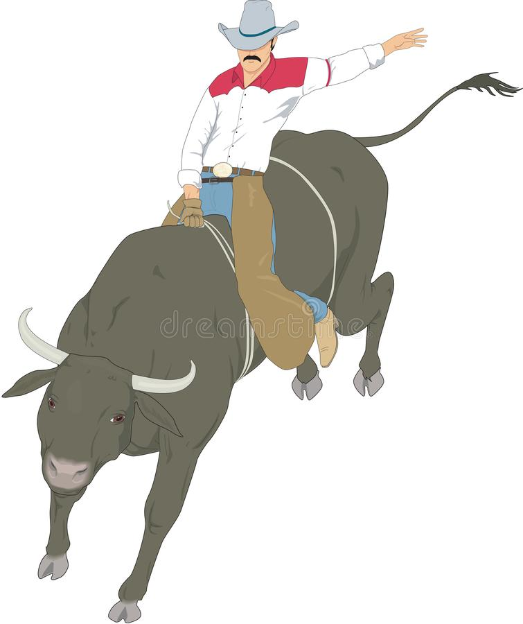 Bull Riding Black Silhouette On Red Stock Illustration