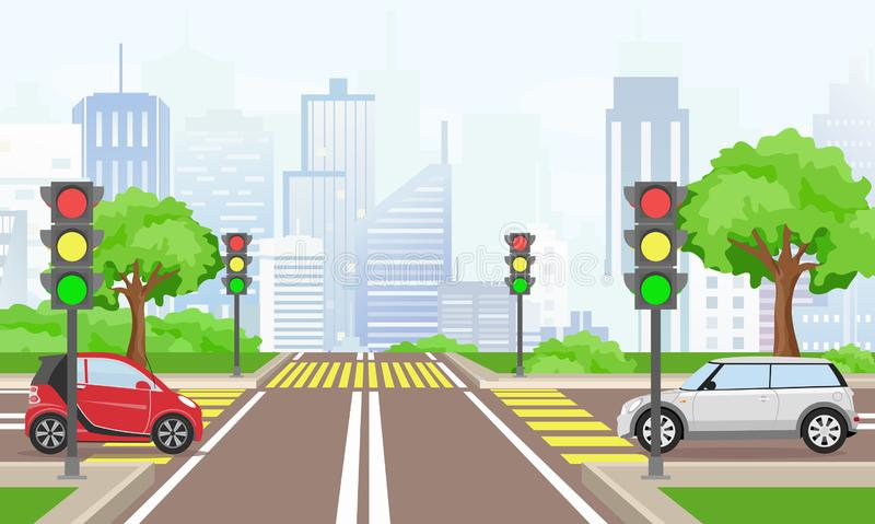 Vector illustration of road cross with cars in the big modern city. Street with traffic lights in flat style. Vector illustration of road cross with cars in the stock illustration