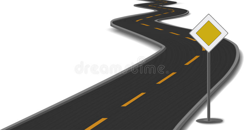 Vector illustration of road with main-road sign vector illustration