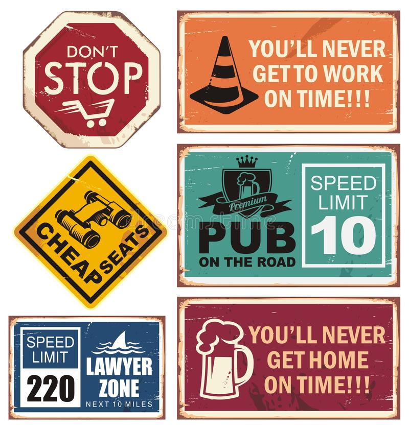 Vector illustration of road signs with unique creative messages stock illustration