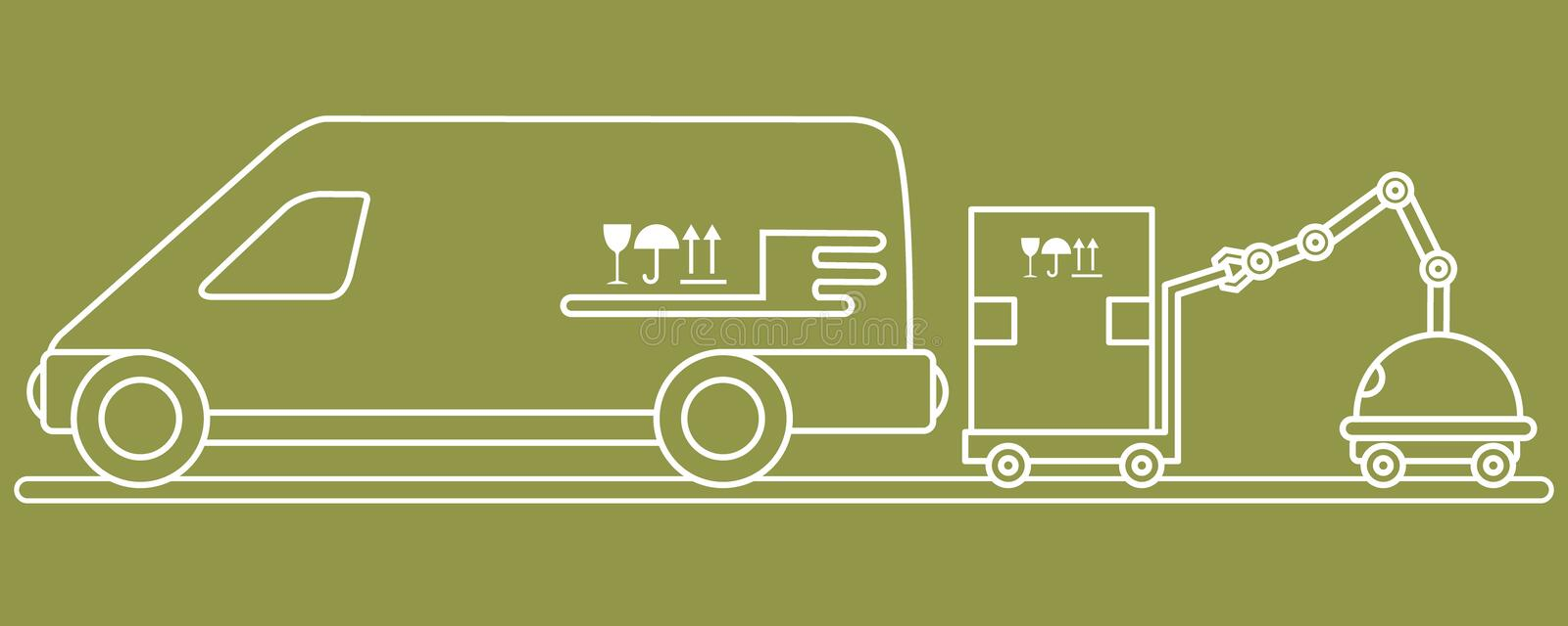 Automation warehouse processes. Smart Logistic. Vector illustration with robot loader loads boxes into a car. Automation warehouse processes. Smart Logistic royalty free illustration