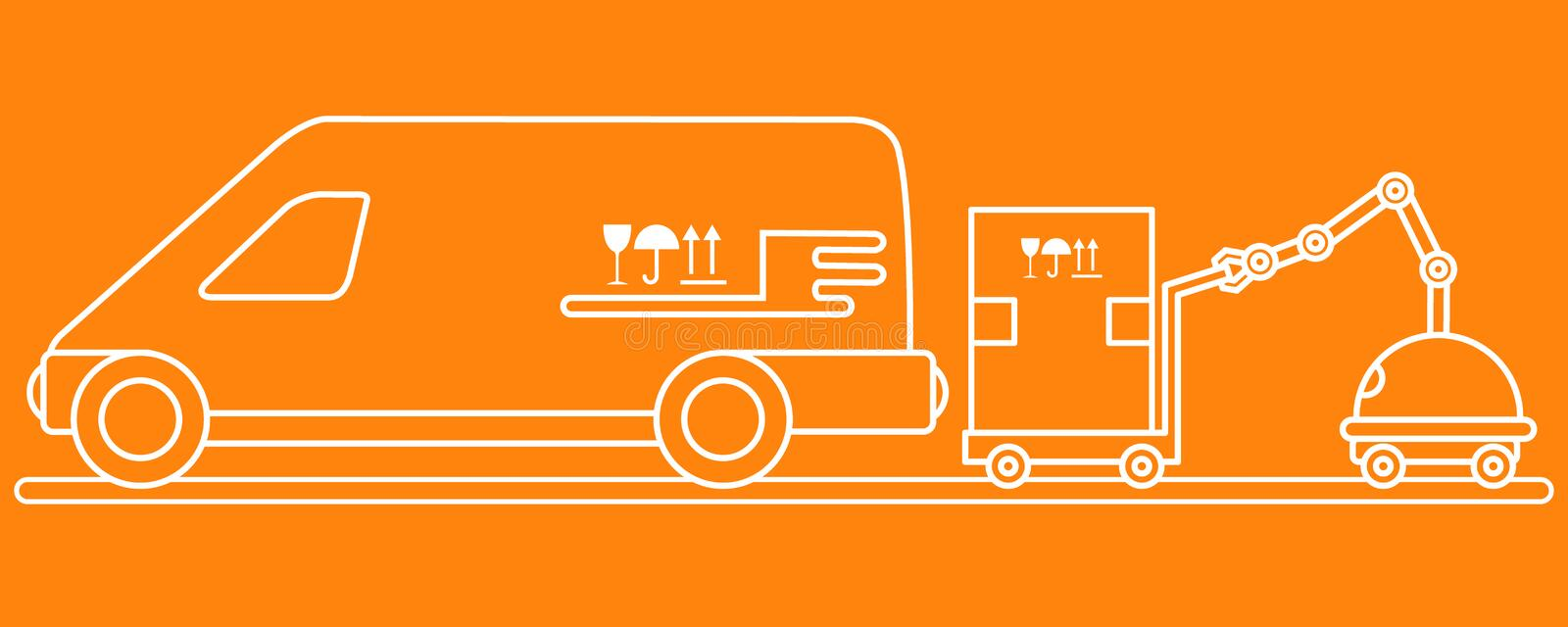 Automation warehouse processes. Smart Logistic. Vector. Vector illustration with robot loader loads boxes into a car. Automation warehouse processes. Smart stock illustration