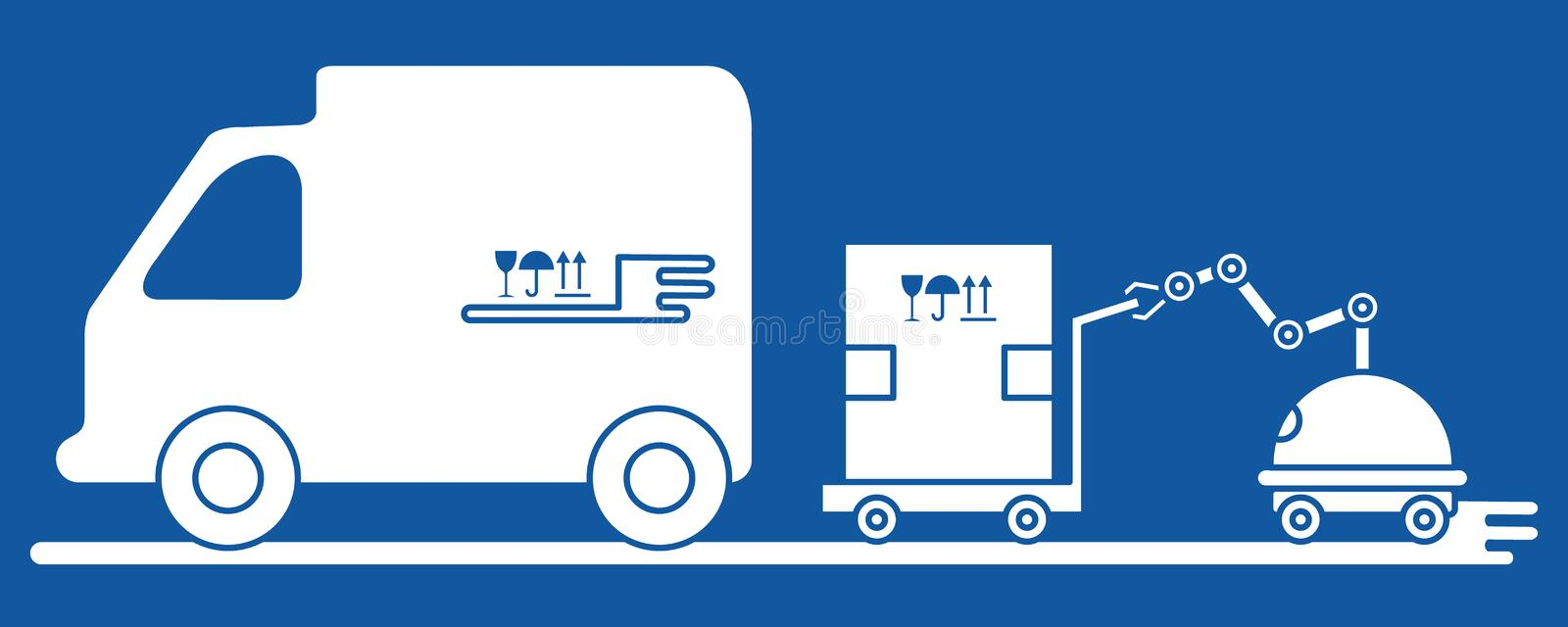 Automation warehouse processes. Smart Logistic. Vector. Vector illustration with robot loader loads boxes into a truck. Automation warehouse processes. Smart stock illustration