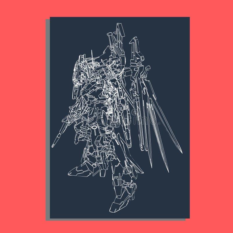 Vector illustration. robot sacred geometry. For t-shirt design, poster, sticker. Line Style. - Vector stock illustration