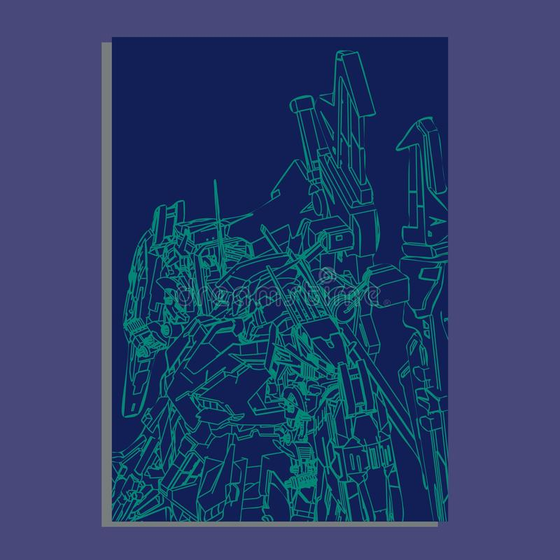 Vector illustration. robot sacred geometry. For t-shirt design, poster, sticker. Line Style. - Vector royalty free illustration