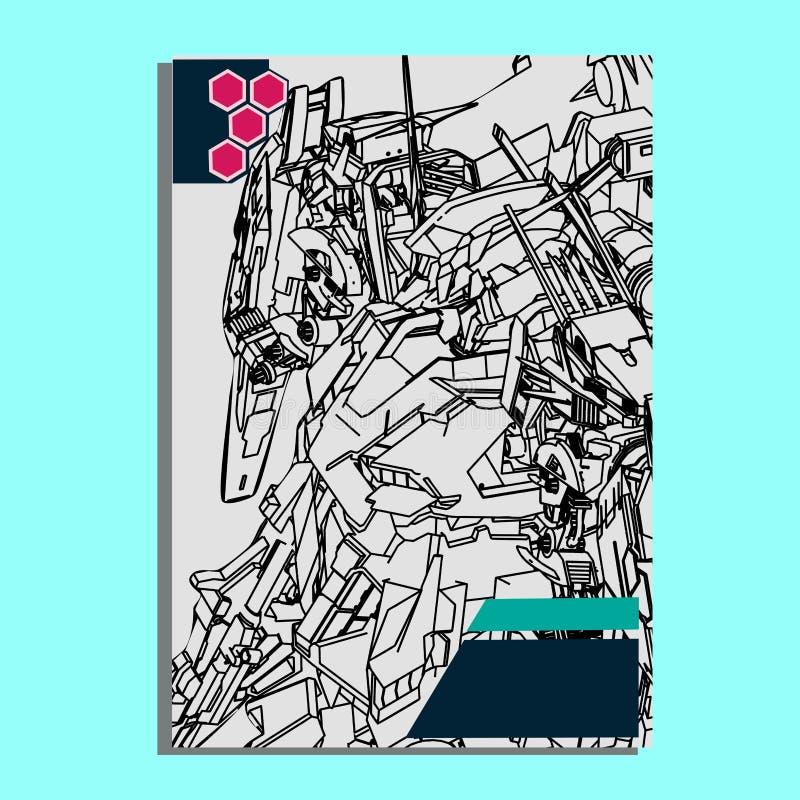 Vector illustration. robot in white background. For t-shirt design, poster, sticker. Line Style. - Vector stock illustration