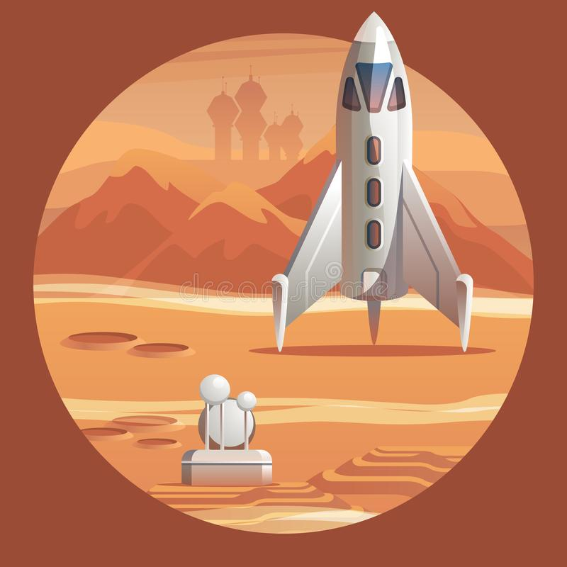 Vector Illustration Rocket Preparing for Launch royalty free illustration