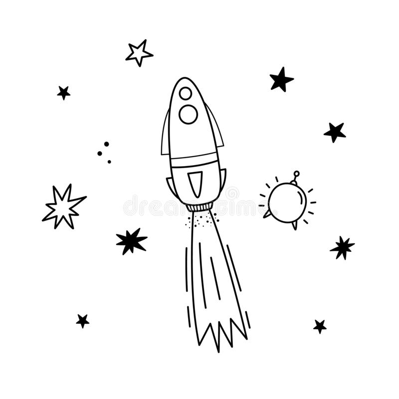 Vector illustration of rocket, satellite and stars. Doodle style. Monochrome stock illustration