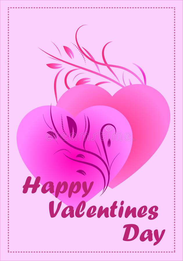 Vector drawing postcard Happy Valentine`s Day on pale pink background. Vector illustration, romantic postcard Happy Valentine`s Day greeting with elegant stock illustration