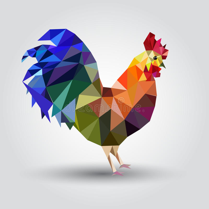 Vector illustration of rooster, symbol of 2017. Silhouette of red cock. vector illustration
