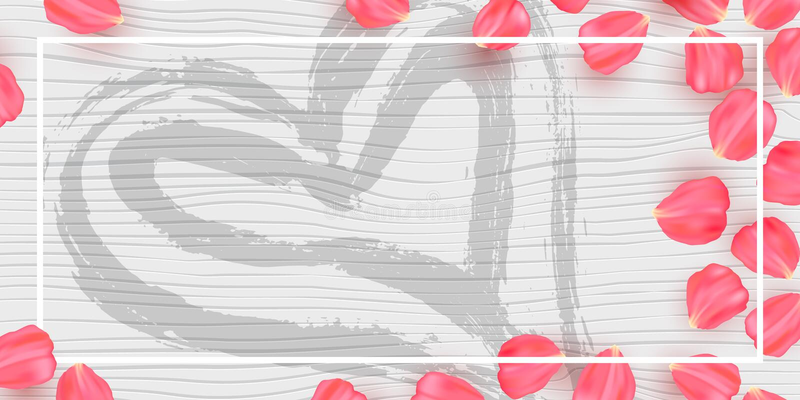 Rose petals on white wood texture. Background vector illustration