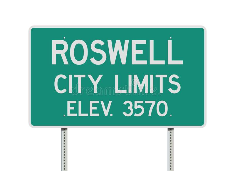 Roswell City Limits road sign. Vector illustration of the Roswell City Limits green road sign vector illustration