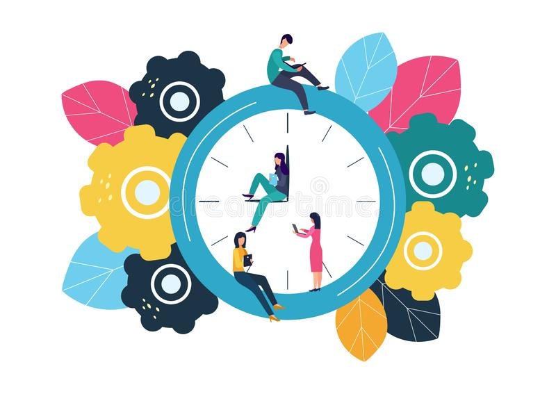 Vector illustration, round clock on white background, time management concept.  stock illustration