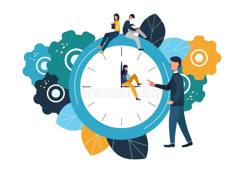 Vector illustration, round clock on white background, time management concept.  vector illustration