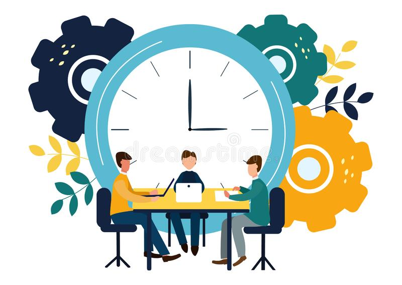 Vector illustration, round clock on white background, time management concept.  royalty free illustration